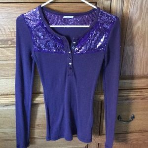 Free people sequined Henley top size small